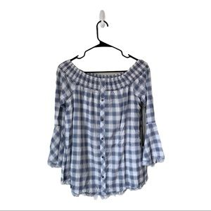 Doe & Rae Plaid Off The Shoulder Blouse- NWT